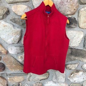 Women's Karen Scott Red zip up vest with pockets